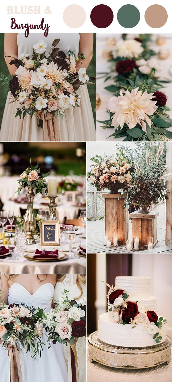 The 10 perfect fall wedding color combos to steal in 2018 classic blush and burgundy classic wedding ideas with glitter accents junglespirit Gallery