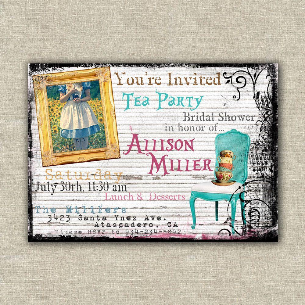 3 Printable Alice in Wonderland invitation, digital file, tea party ...