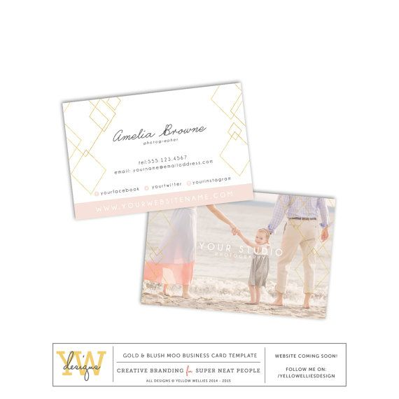 Blush and gold diamond business card template photographer business card template moo gold foil business card template gold and blush diamond wedding photography photoshop template sku bc016 reheart Choice Image