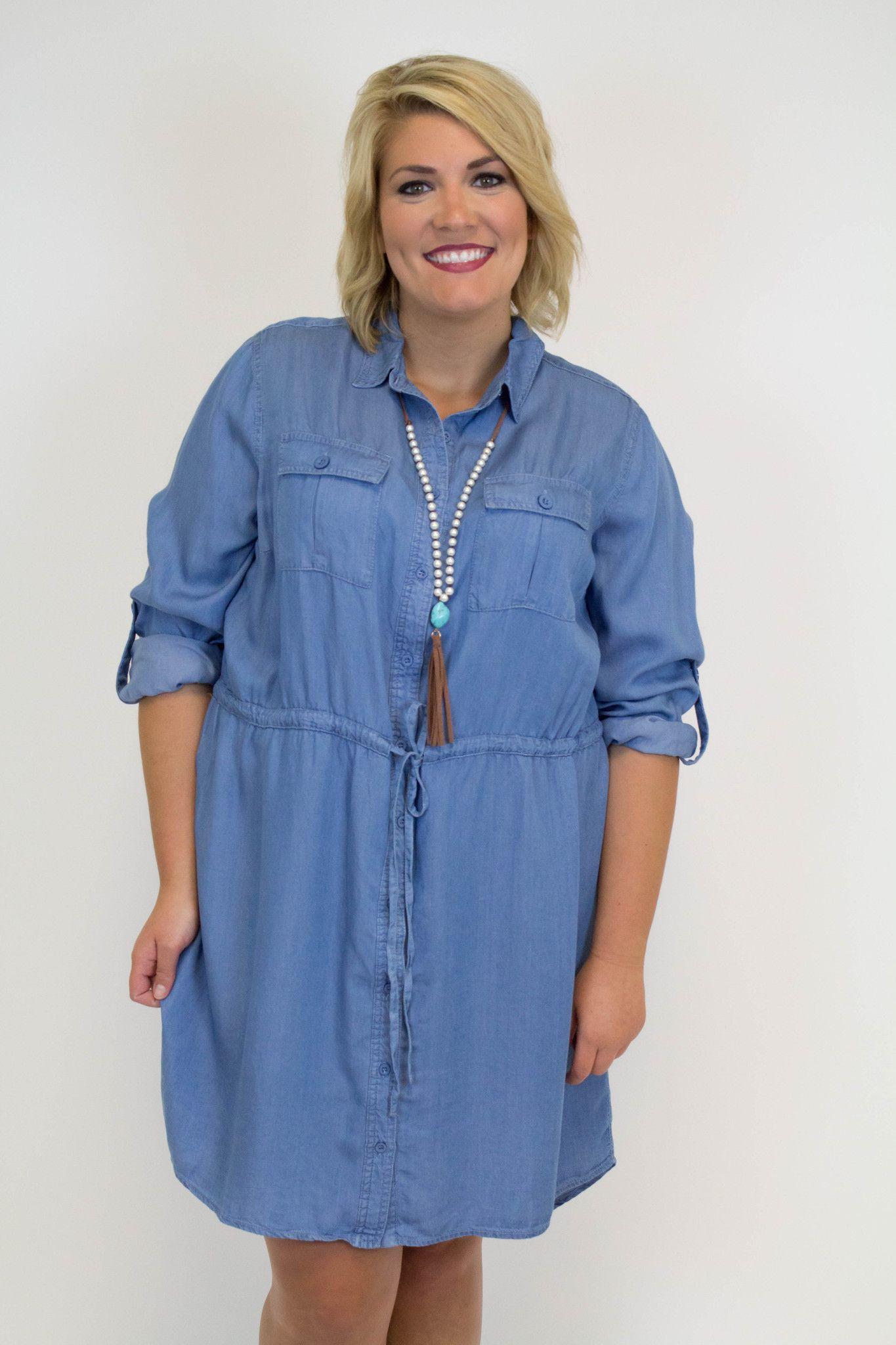 Denim Dress - Plus Size | Products | Dresses, Denim, Plus size