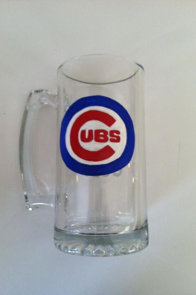 Hand painted Cubs beer mug by Samantha Blair