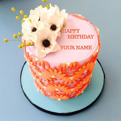 Name Pix Birthday Cake Beautiful : Write Name On Beautiful Orange Flower Strawberry Cake ...