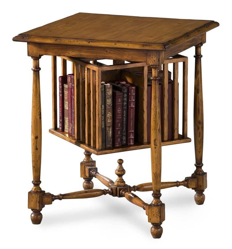 Revolving Book Table Pine with 360 Degree Revolving Book Caddy