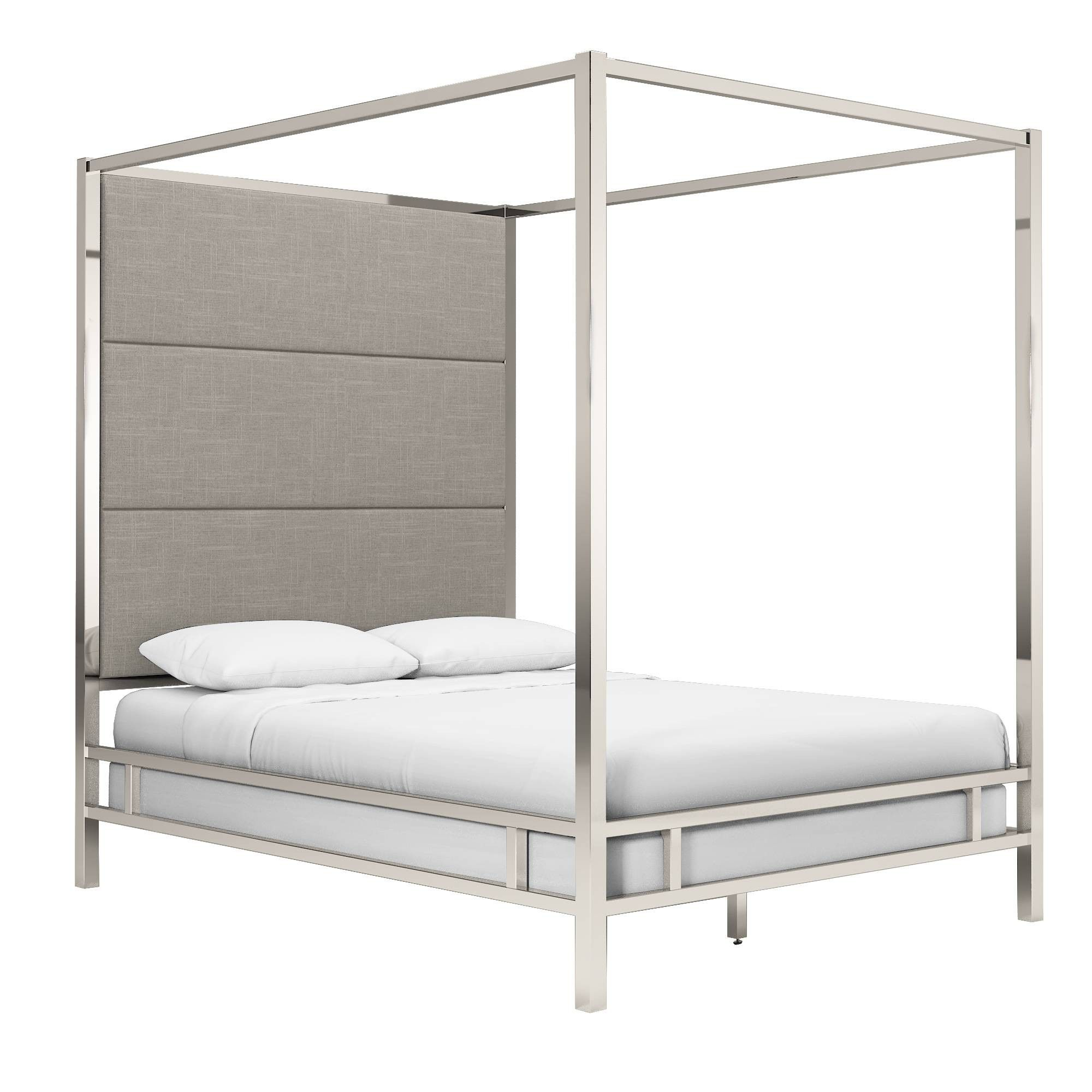 Full evert chrome metal canopy bed with panel headboard