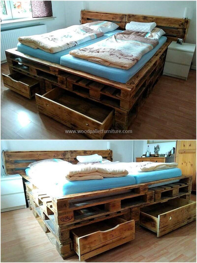 This Reused Pallet Wood Made Bed Is Giving This Room A Modern And Stylish Appearance As Well As Beautifu Pallet Furniture Bedroom Wood Pallet Beds Wood Pallets