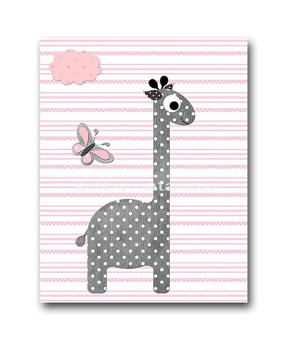 Baby Shower Decor Giraffe Elephant Nursery Decor by artbynataera