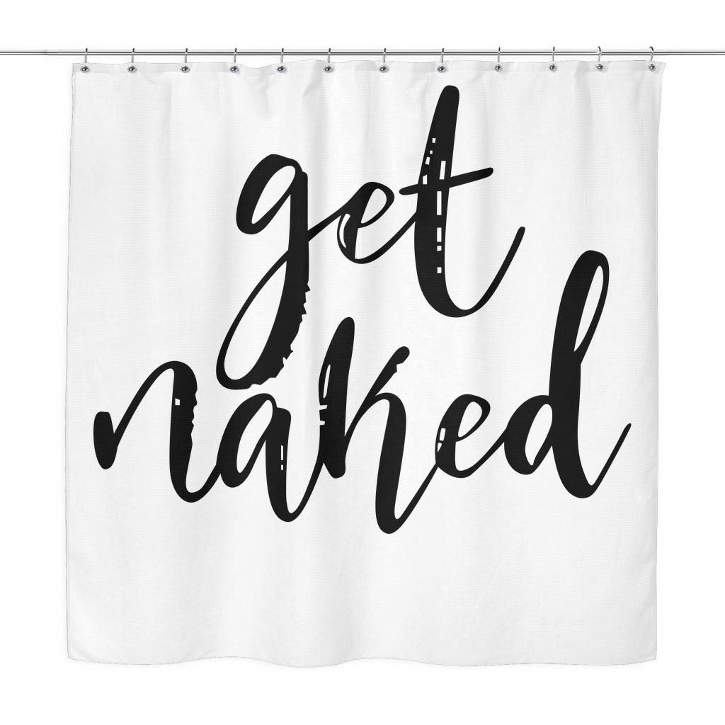 Get Naked Shower Curtain Funny Shower Curtains White Shower And - Hand lettered us map black and white shower curtain