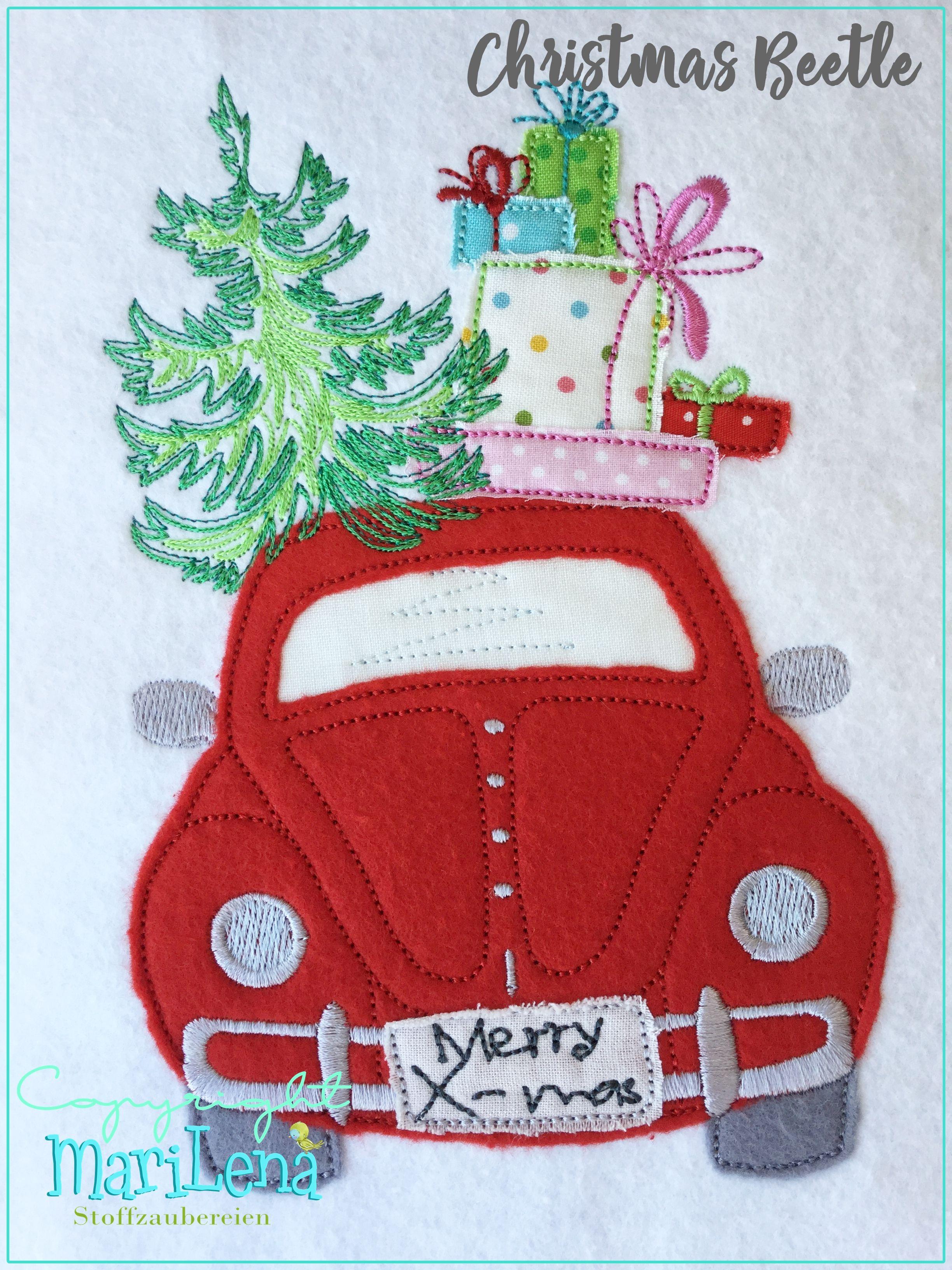 stickdatei weihnachtsbeetle mit tannenbaum und geschenken