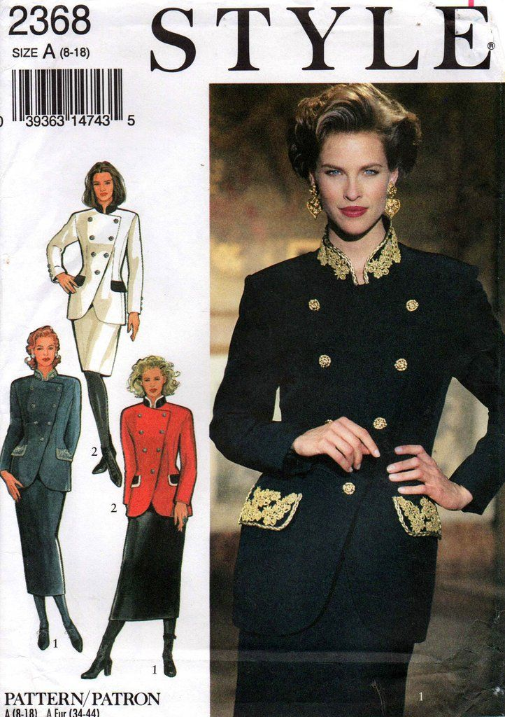Style 2368 Womens Military Style Skirt Suit 90s Sewing Pattern Size ...