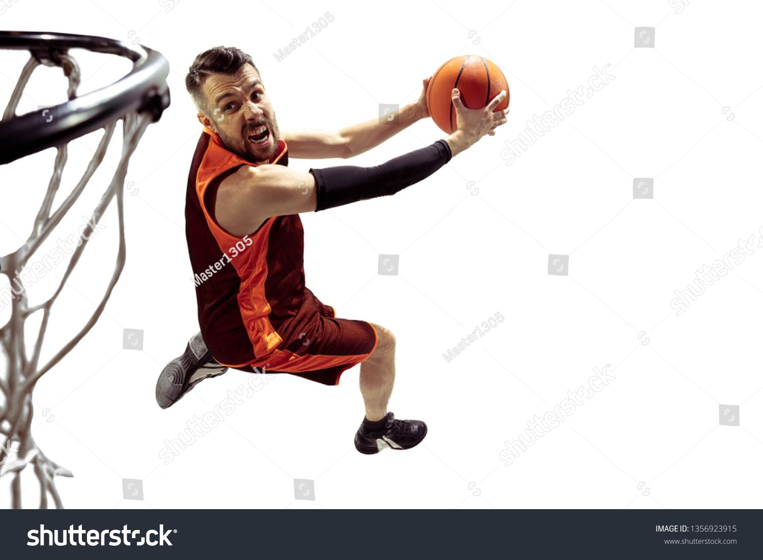 Full Length Portrait Of A Basketball Player With Ball Isolated On White Background Advertising Concept Fit Caucasian Athl Basketball Players Athlete Portrait