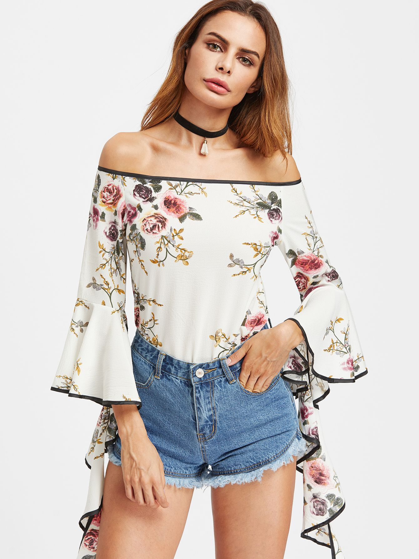 Womens Ladies Off Shoulder Floral Cuffed Long Sleeve Swing Top Blouse Bardot