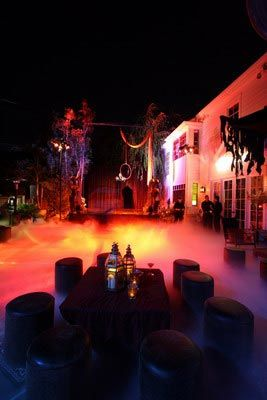 Halloween party the pool has been covered dry ice - Halloween swimming pool decorations ...