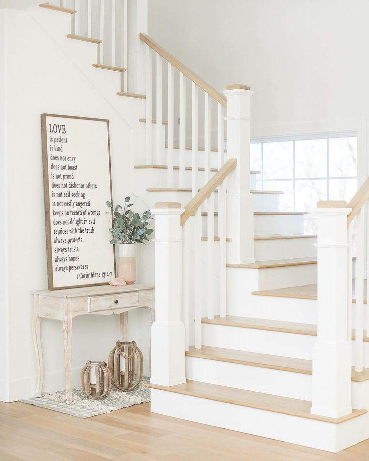 "Niña on Instagram: ""I remember the staircase was so stressful when we built this house. I love how it turned out! The light wood tone with the white �. Is…"""