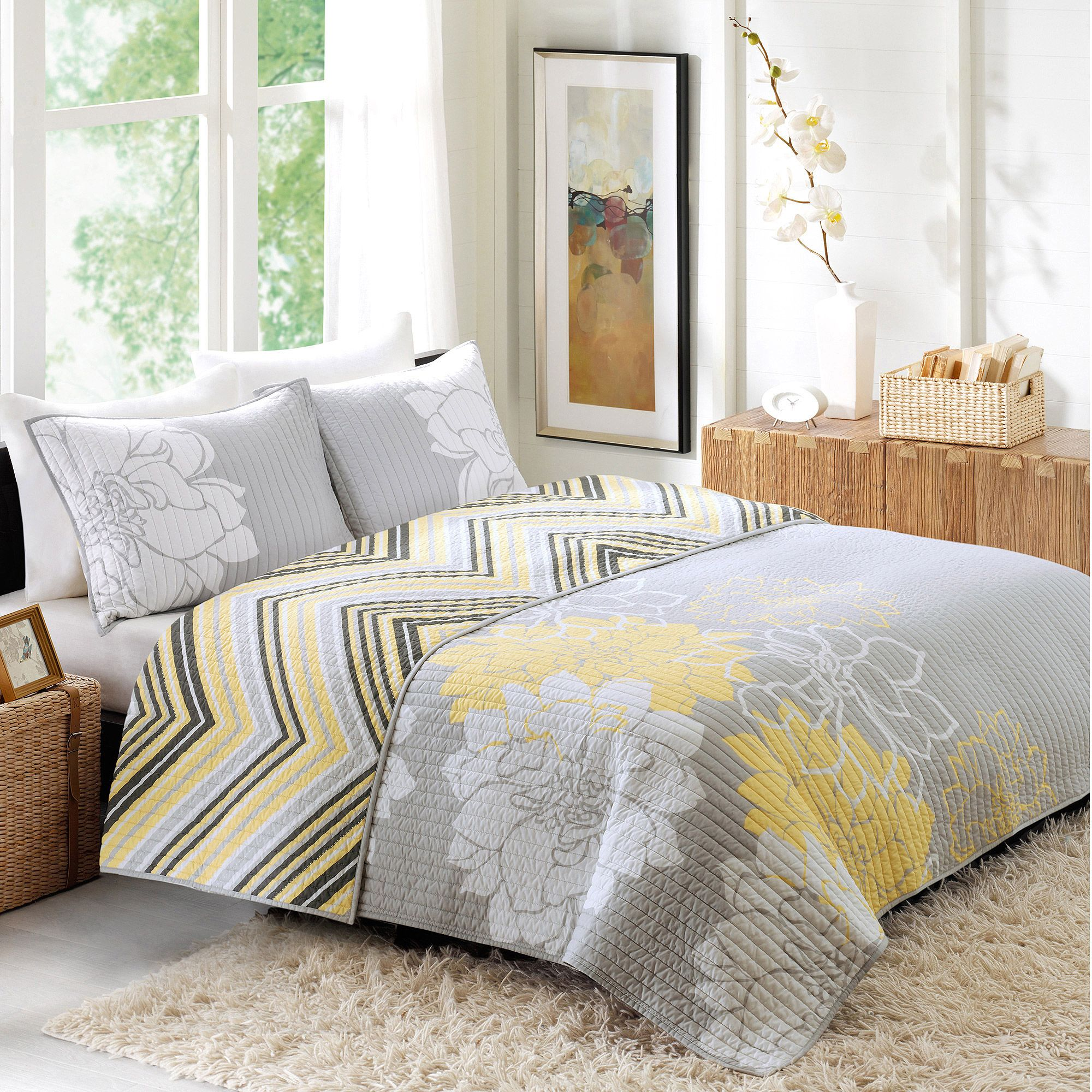 Better Homes and Gardens Quilt Collection, Yellow Floral - Walmart.com