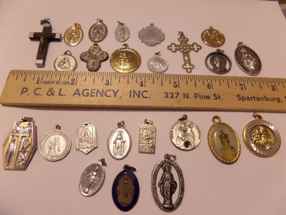 lot of 24 catholic christian religious charms pendants medals