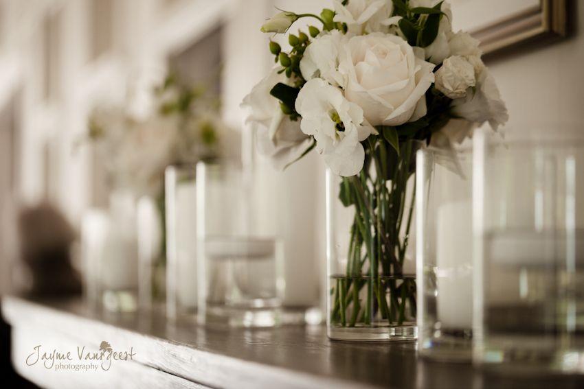 White On White Wedding Decor Cylinder Vase Centrepice Sue Gallo