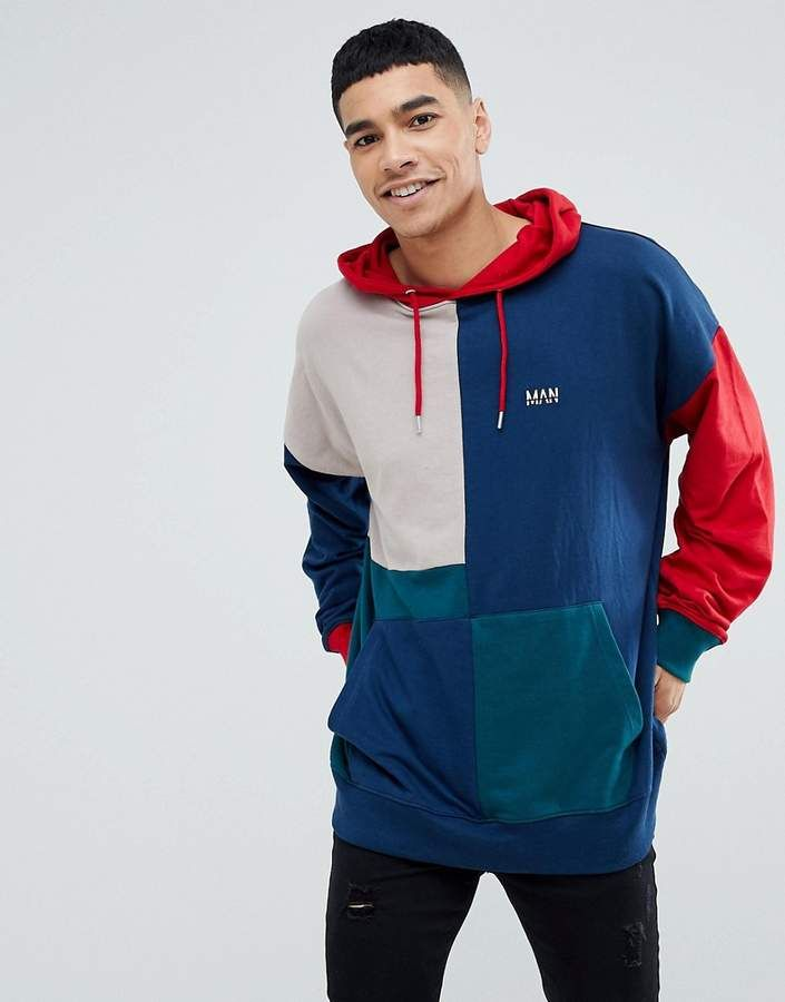 ddcdfa779b boohooMAN Color Block Hoodie With Man Embroidery In Multi Color ...