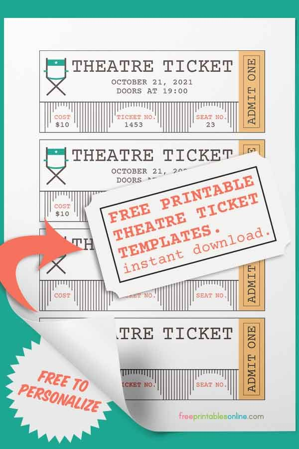 Free Theatre Ticket Template | Pinterest | Ticket template, Theater ...