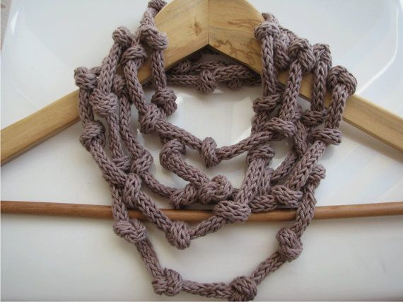 Mauve taupe necklace  organic cotton necklace  eco by tricotaria, $34.00