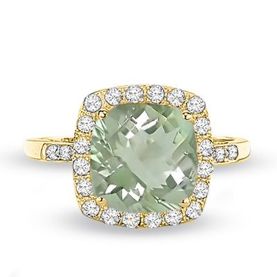 Cushion Cut Green Quartz And Lab Created White Sapphire