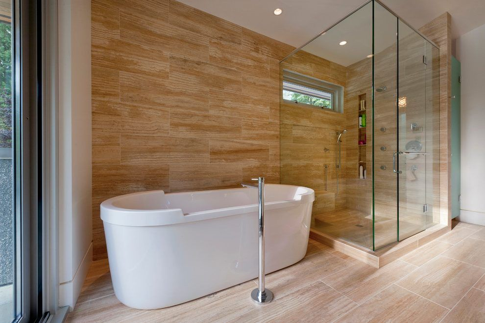 Marvelous Glazed Porcelain Wood Tile Shower Bathroom Contemporary With Shower Niche  Abstract Window Film