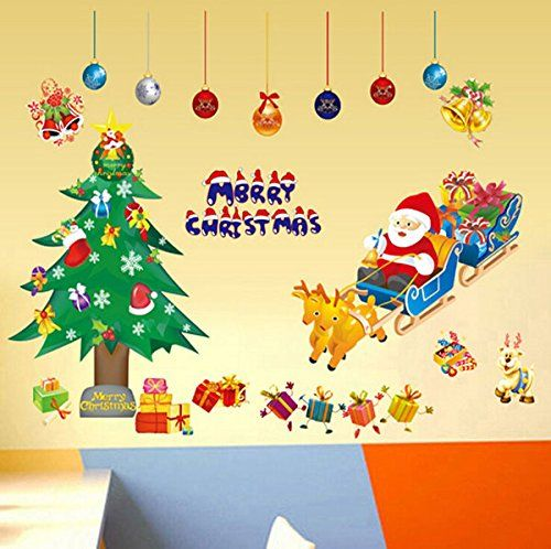 LOOYUAN Xmas Window Decor Vinyl Wall Decals Santa Claus Sticker ...