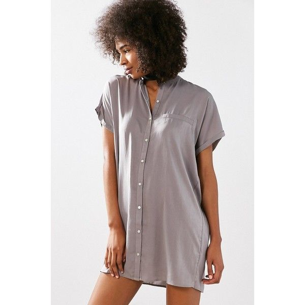 Silence + Noise Satin Mini Shirt Dress ($69) ❤ liked on Polyvore featuring dresses, satin mini dress, oversized shirt dresses, sleeved dresses, short sleeve shirt dress and long shirt dress