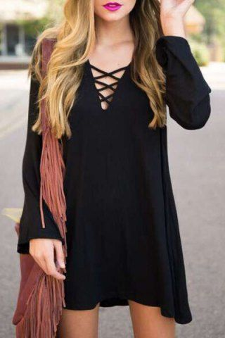 542282869dd Sexy V-Neck Long Sleeve Black Lace-Up Loose-Fitting Women s Dress Long  Sleeve Dresses