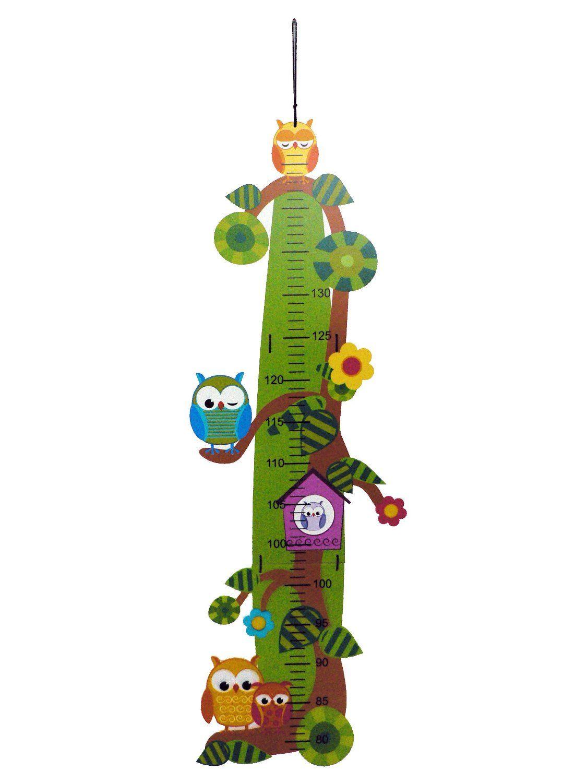 Meßlatte Eule klappbar Kinder Holz Längenmaß Messbereich