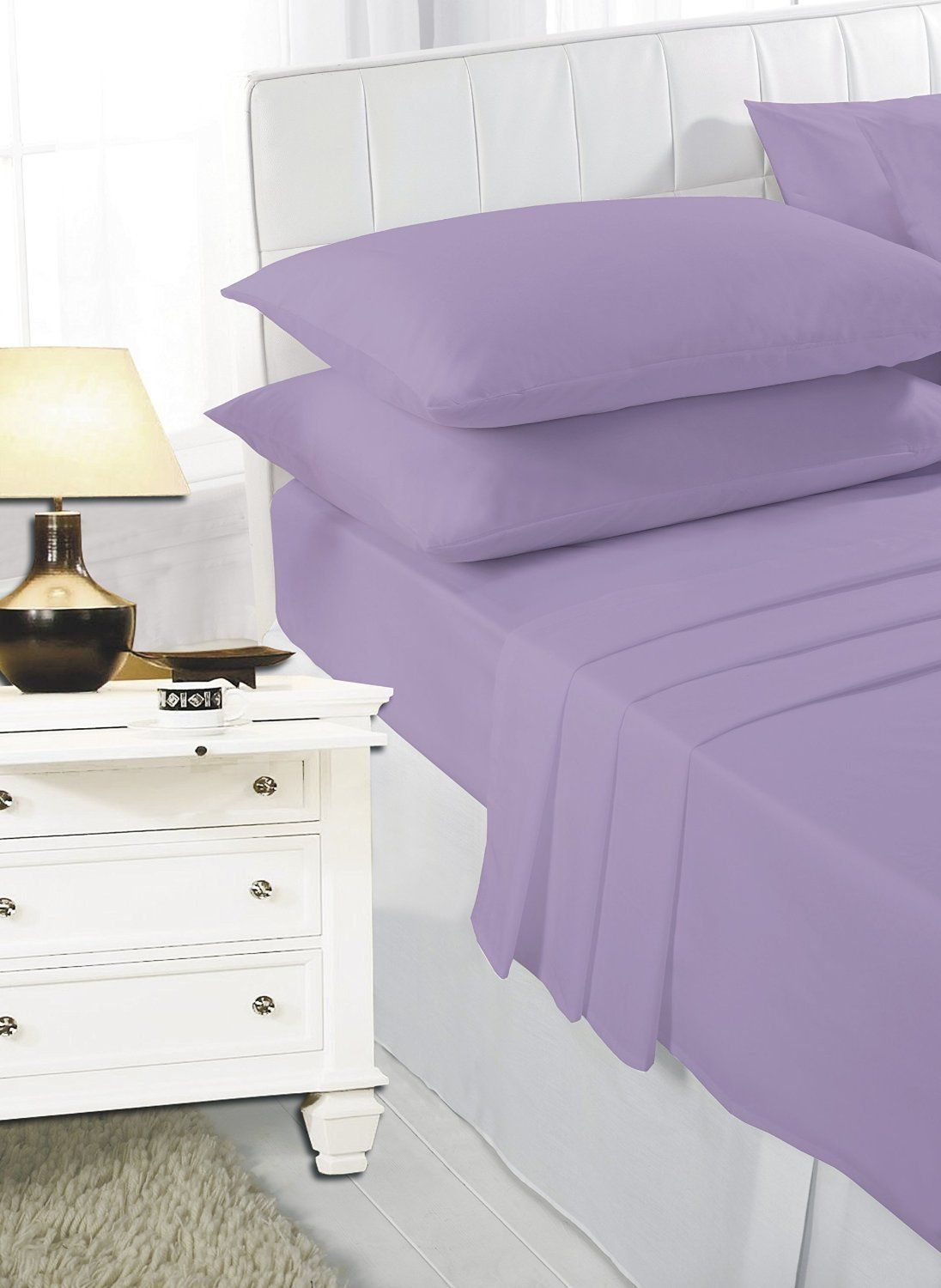 EASY CARE Non Iron Plain Bed Sheets Set (Flat Bed Sheet + Fitted Bed Sheet