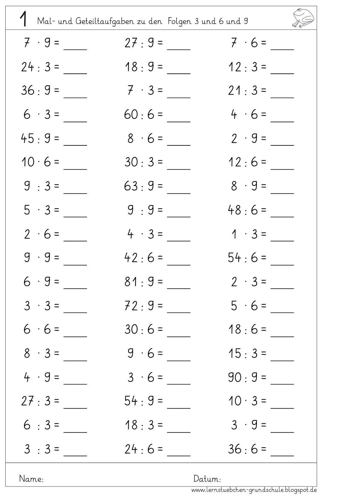 Lernstübchen: MA 2 Einmaleins-Kopfrechnen | matematik | Pinterest ...