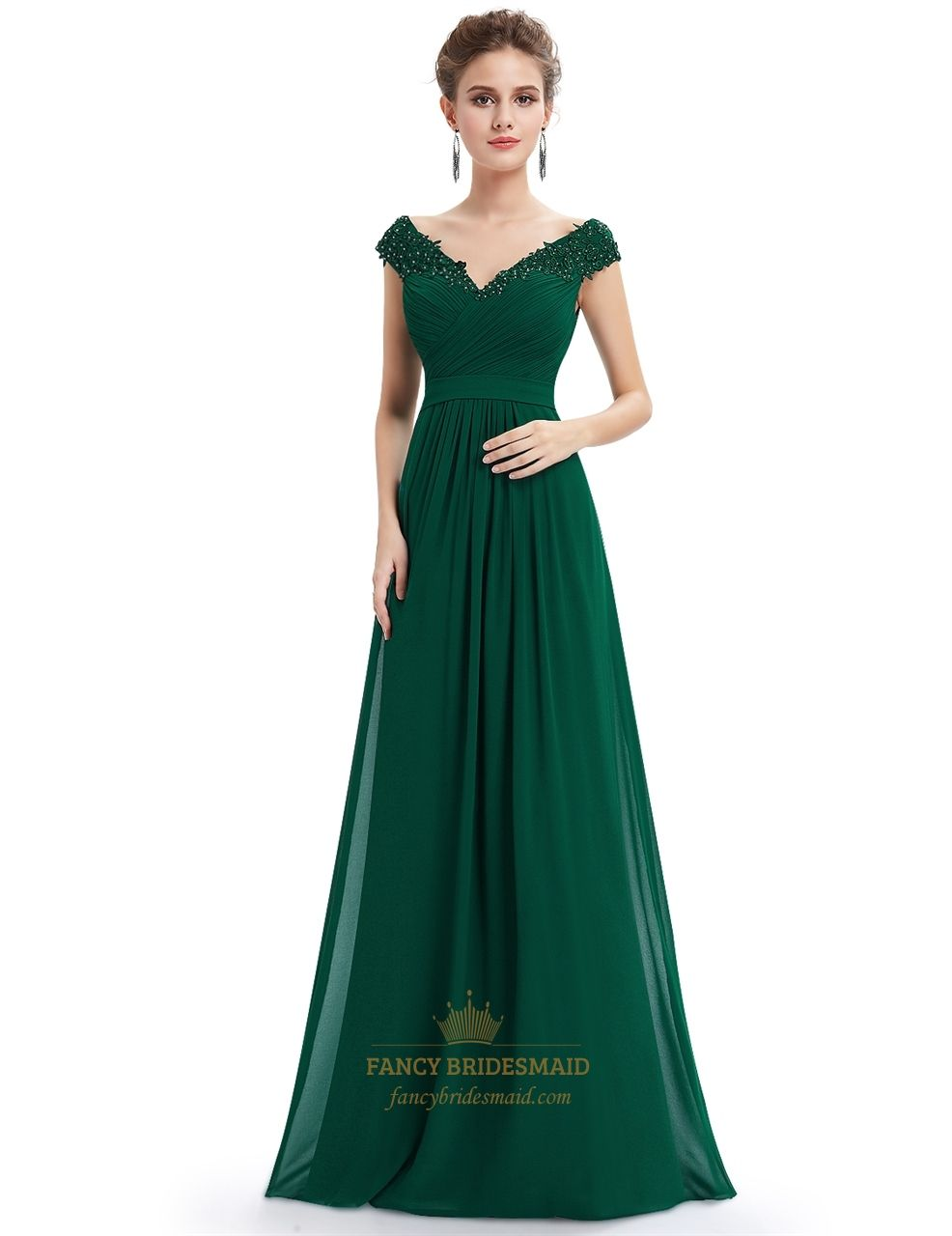 Emerald green v neck bridesmaid dresses with beaded lace applique in