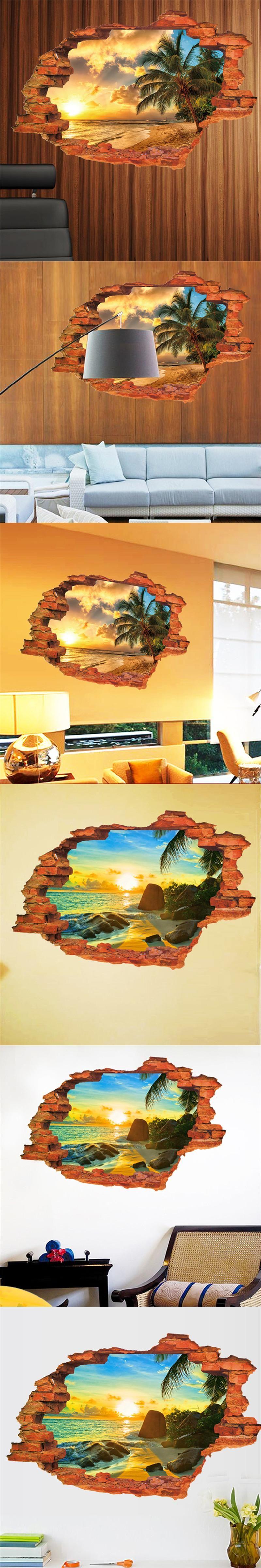Sunshine Beach Sea Sun Tree Resort 3D Window View Vinyl Wall ...