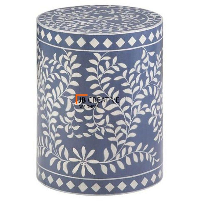 Bone Inlay End Table Wooden Round Coffee Table Handmade