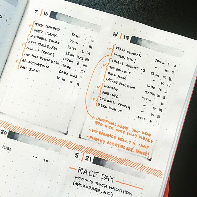 AUG // WEEK 3: Hump day check! Back-to-back lifting days due to race schedule. I am pooped. . . . #bujo #bulletjournal #bulletjournaljunkies #fitness #workout #planner #journal #workoutoftheday #gym #fitnessplan