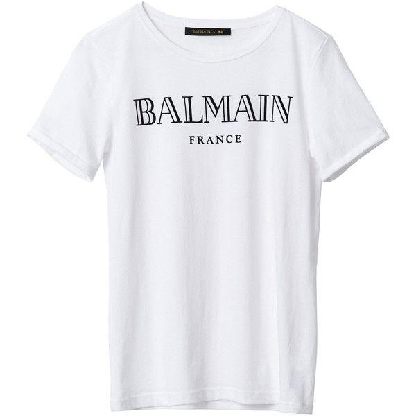 83c8cb148 Balmain x H M  Balmain Tee Shirt ❤ liked on Polyvore featuring tops ...