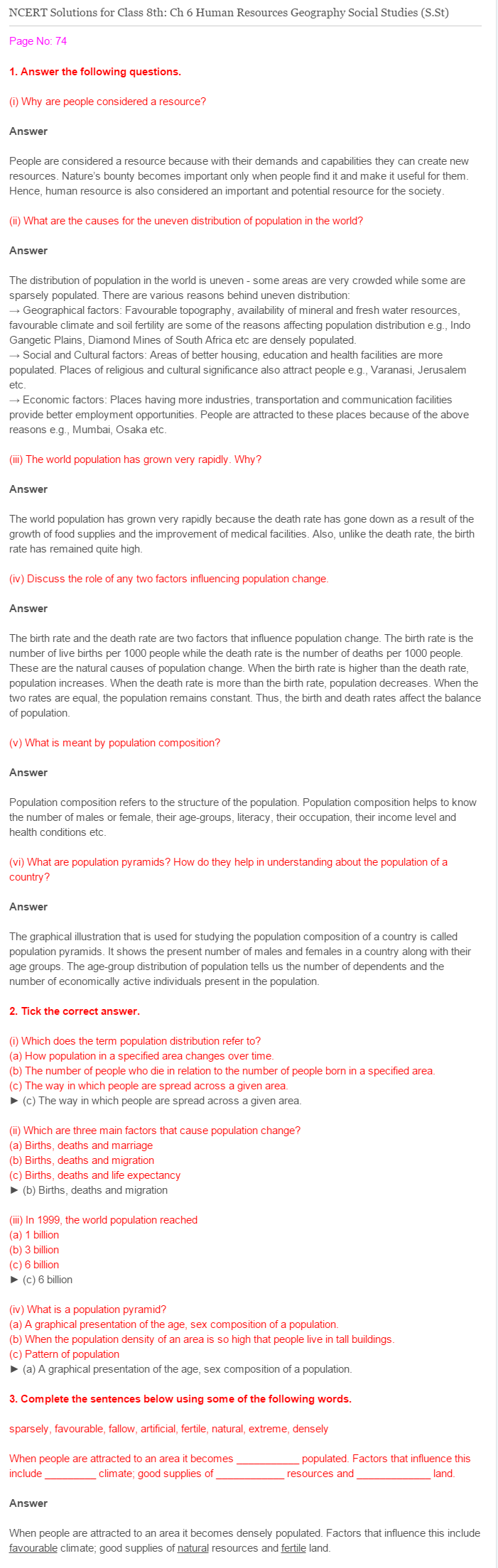 NCERT Solutions for Class 8 Social Science Geography