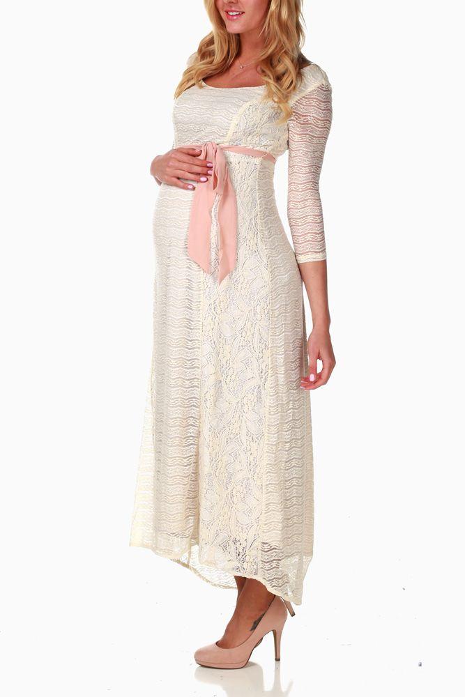 Ivory Lace Sash Tie Maternity Maxi Dress  7ed5f0dce