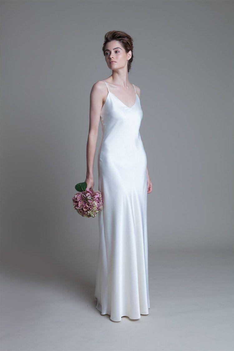 Iris Crepe Back Satin Ivory V Neck Slip Wedding Dress By Halfpenny London Slip Wedding Dress Wedding Dresses Satin Satin Dress Long