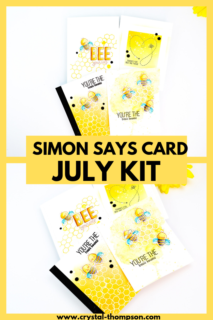 A first look at the Simon Says Stamp July 2019 Card Kit. See this tutorial making 4 EASY cards that color coordinate. #cardkit