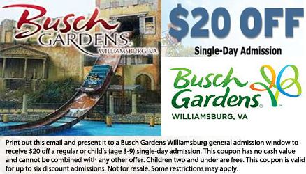 Busch Gardens Annual Passes Is Another Form Of Busch Gardens Williamsburg  Coupons Which Are Available For Guests At USD 10 Per Month Which A.