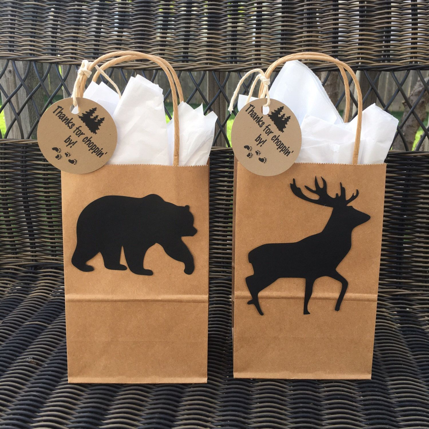 ForestBearDeerLumberjack Birthday Gift Bags by HoneyBeeGatherings