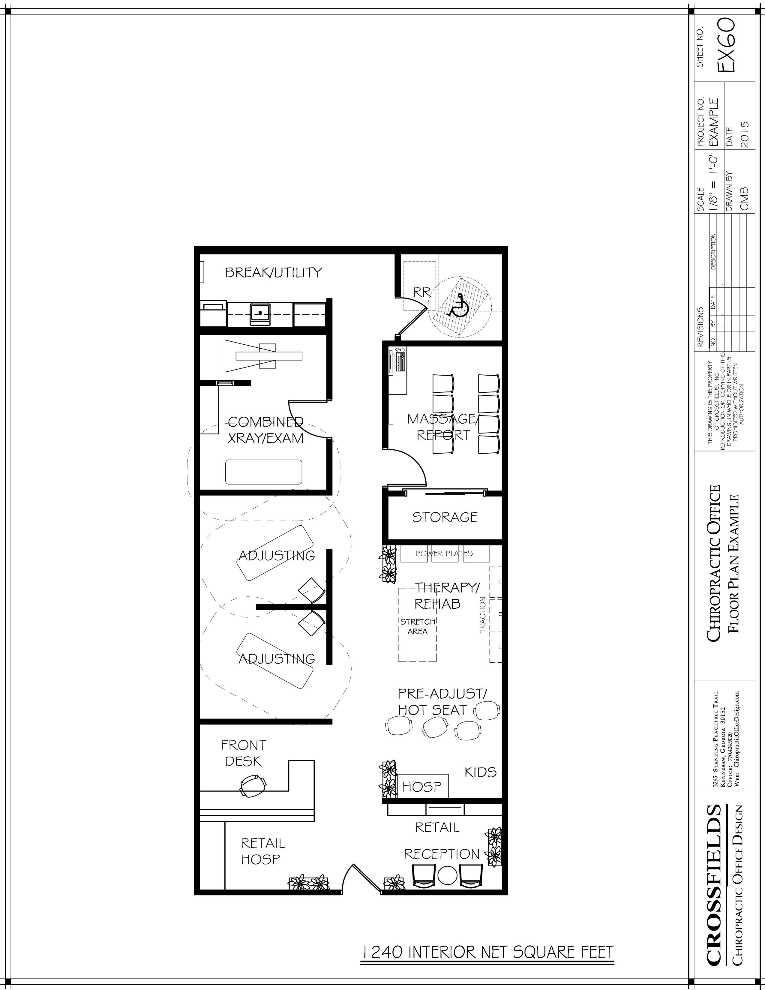 Sample plan with open therapy rooms and semi open for Chiropractic office layout examples