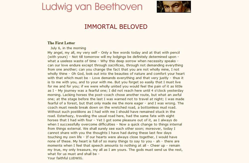Ludwig van Beethoven Letter One to My Immortal Beloved Best - celebration letter