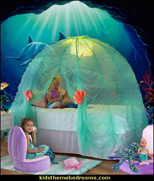 Under-the-Sea Bed Tent - cute and fun canopy for over the bed in the mermaid grotto. Plush Clamshell Chair - for added creative play for the little mermaids. #mermaidbedroom