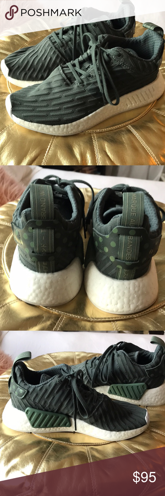 e642abc4f2a36 Adidas women s NMD R2 shoes Worn once! Beautiful Adidas NMD sneaker in  green with polka dot detail on back. Size 8. Primeknit upper with Boost  foam bottom.