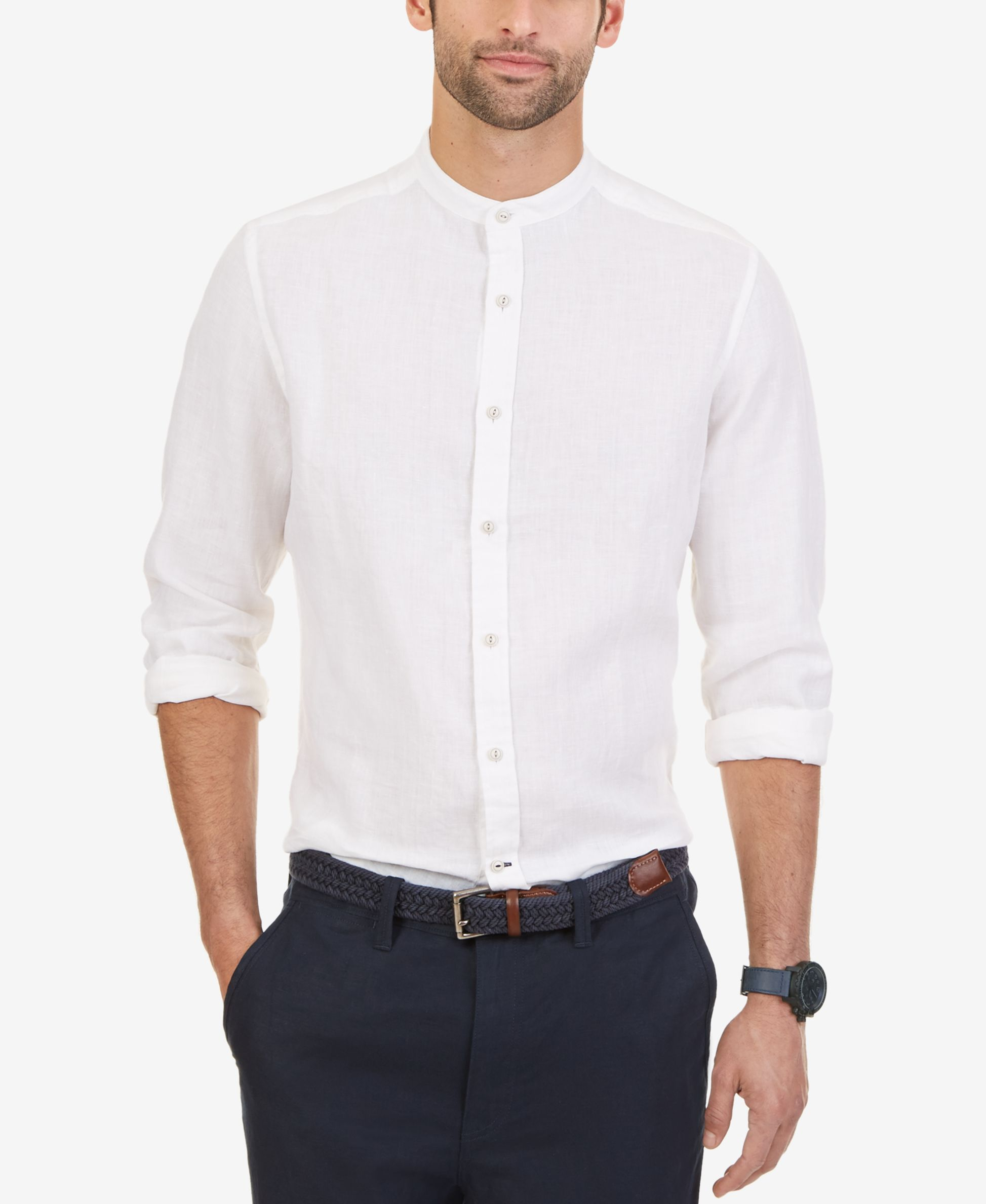 Nautica Men's Linen Banded-Collar Long-Sleeve Shirt - Casual ...
