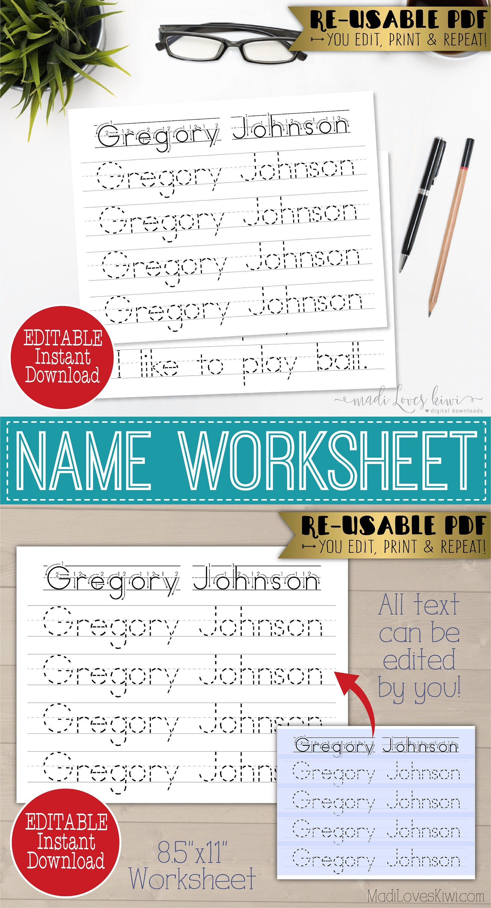Printable Name Writing Worksheet Editable Handwriting