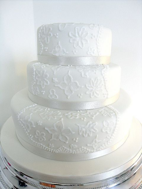 3 tier Brush Embroidery Wedding Cake by purecakes
