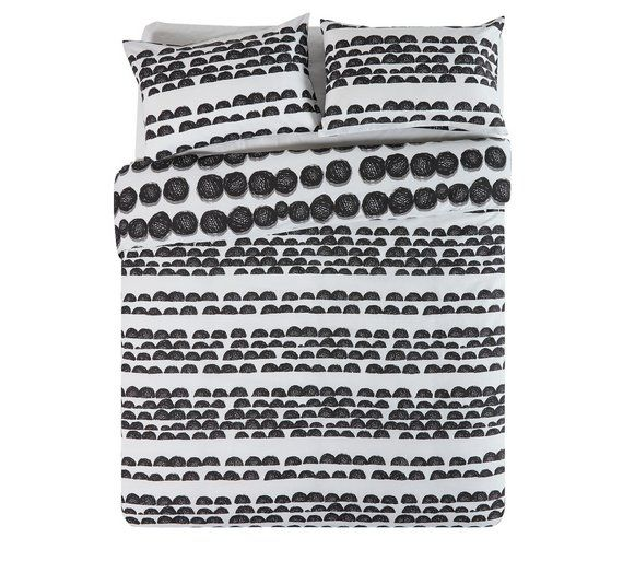 Buy home bobble black and white bedding set double at argos co uk